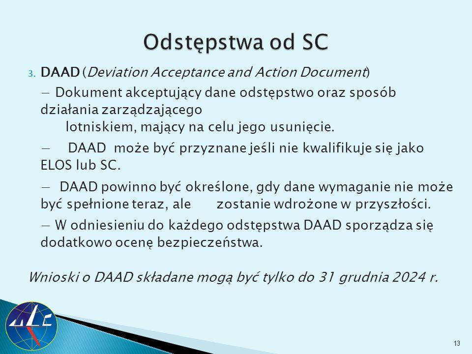 3. DAAD (Deviation Acceptance and Action Document) − Dokument akceptujący dane odstępstwo oraz sposób działania zarządzającego lotniskiem, mający na c