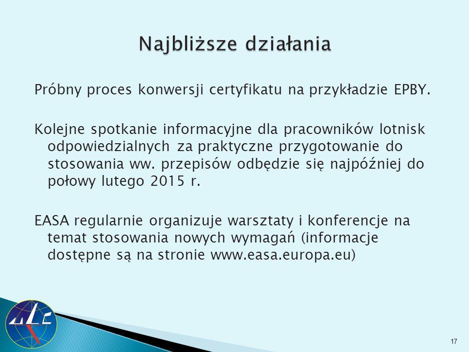 Próbny proces konwersji certyfikatu na przykładzie EPBY. Kolejne spotkanie informacyjne dla pracowników lotnisk odpowiedzialnych za praktyczne przygot