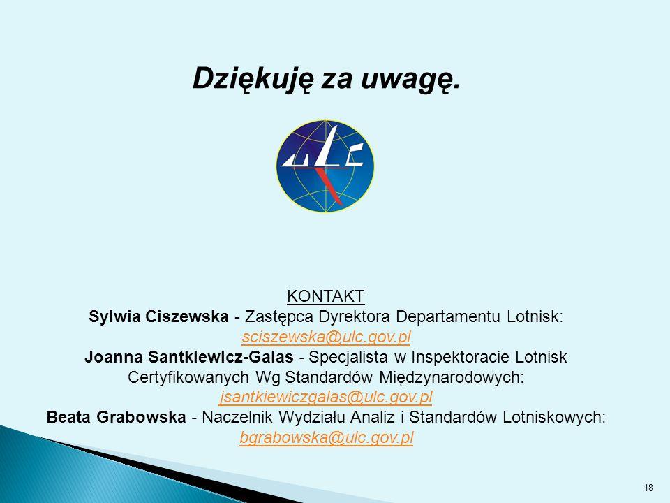 18 Dziękuję za uwagę. KONTAKT Sylwia Ciszewska - Zastępca Dyrektora Departamentu Lotnisk: sciszewska@ulc.gov.pl Joanna Santkiewicz-Galas - Specjalista