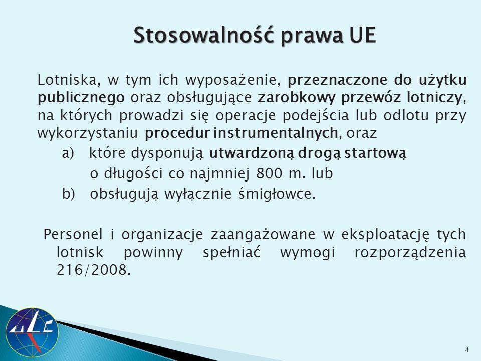 Stosowalność prawa UE Lotniska, w tym ich wyposażenie, przeznaczone do użytku publicznego oraz obsługujące zarobkowy przewóz lotniczy, na których prow