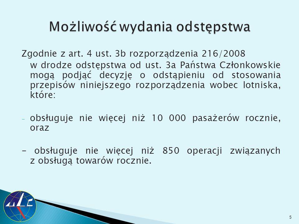 Zgodnie z art. 4 ust. 3b rozporządzenia 216/2008 w drodze odstępstwa od ust. 3a Państwa Członkowskie mogą podjąć decyzję o odstąpieniu od stosowania p