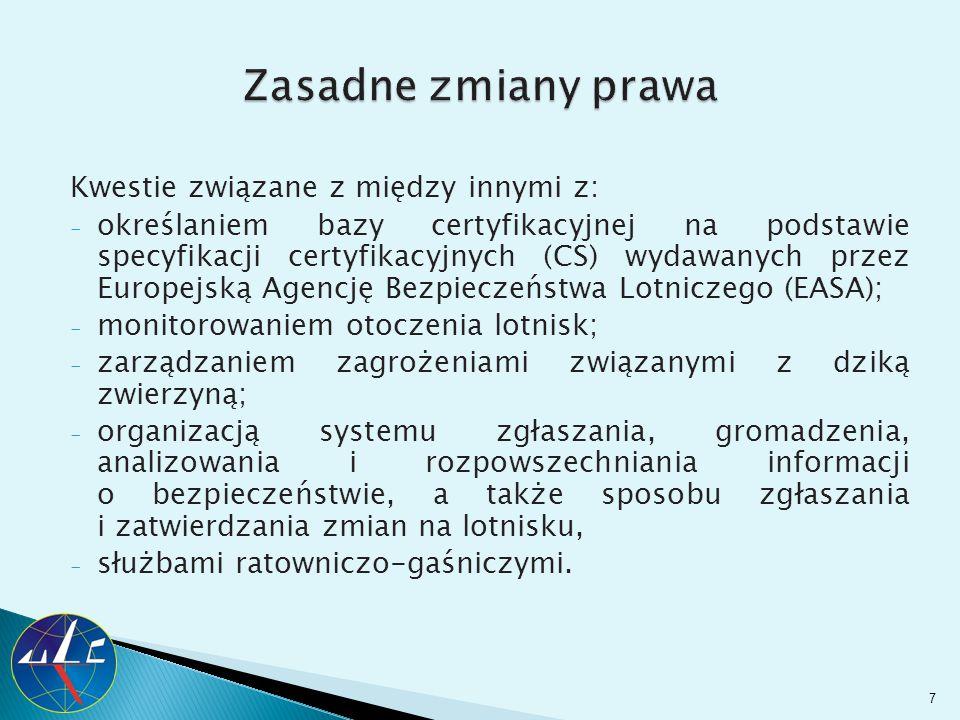 Kwestie związane z między innymi z: - określaniem bazy certyfikacyjnej na podstawie specyfikacji certyfikacyjnych (CS) wydawanych przez Europejską Age