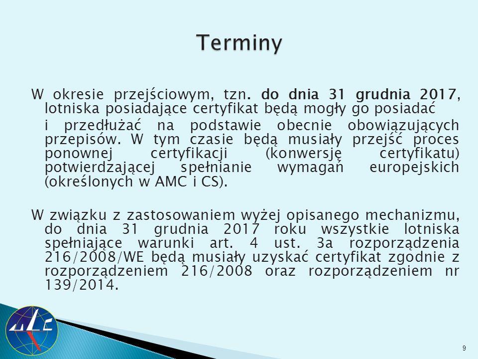 W okresie przejściowym, tzn. do dnia 31 grudnia 2017, lotniska posiadające certyfikat będą mogły go posiadać i przedłużać na podstawie obecnie obowiąz