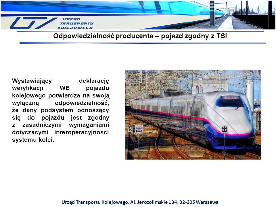 Urząd Transportu Kolejowego, Al. Jerozolimskie 134, 02-305 Warszawa Wystawiający deklarację weryfikacji WE pojazdu kolejowego potwierdza na swoją wyłą