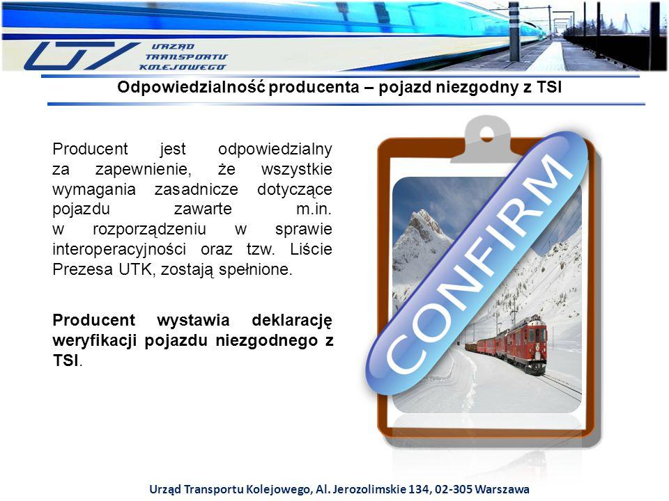Urząd Transportu Kolejowego, Al. Jerozolimskie 134, 02-305 Warszawa Producent jest odpowiedzialny za zapewnienie, że wszystkie wymagania zasadnicze do