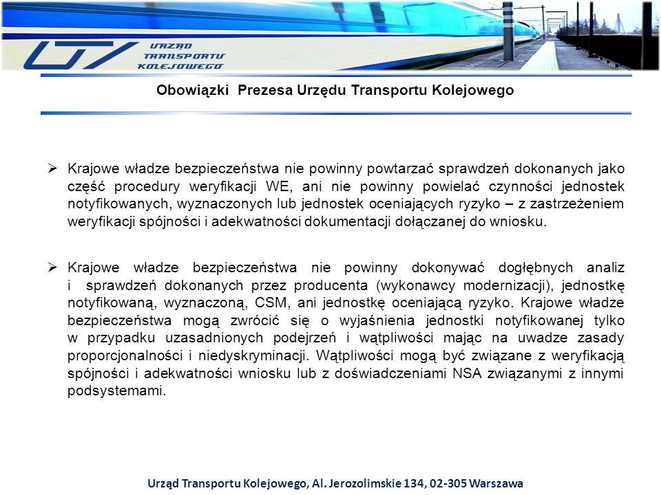 Urząd Transportu Kolejowego, Al. Jerozolimskie 134, 02-305 Warszawa  Krajowe władze bezpieczeństwa nie powinny powtarzać sprawdzeń dokonanych jako cz