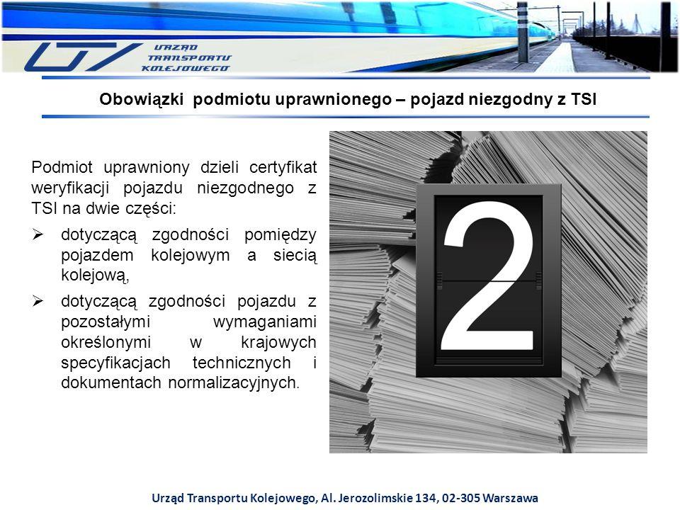 Urząd Transportu Kolejowego, Al. Jerozolimskie 134, 02-305 Warszawa Podmiot uprawniony dzieli certyfikat weryfikacji pojazdu niezgodnego z TSI na dwie