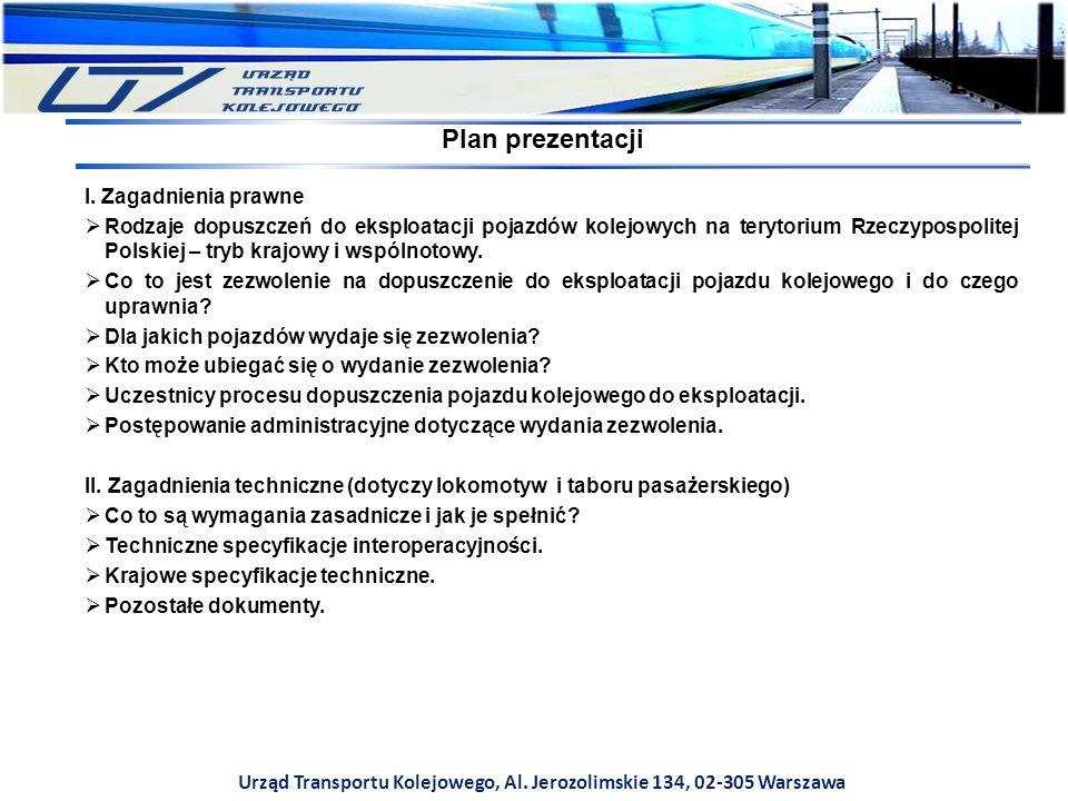 I. Zagadnienia prawne  Rodzaje dopuszczeń do eksploatacji pojazdów kolejowych na terytorium Rzeczypospolitej Polskiej – tryb krajowy i wspólnotowy. 