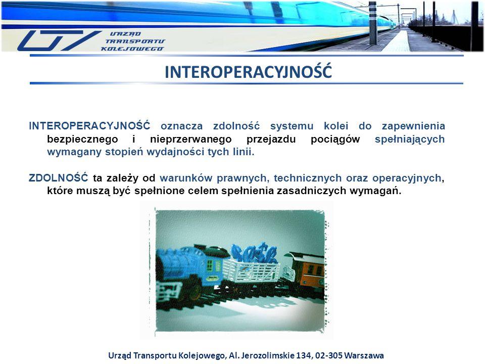 Urząd Transportu Kolejowego, Al. Jerozolimskie 134, 02-305 Warszawa INTEROPERACYJNOŚĆ oznacza zdolność systemu kolei do zapewnienia bezpiecznego i nie