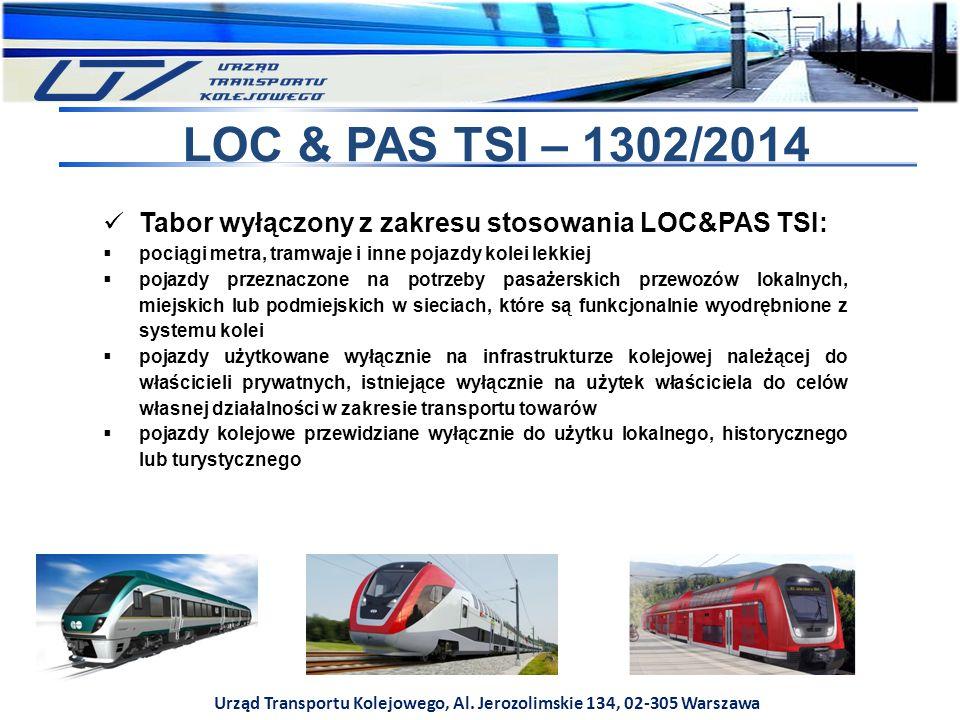 Urząd Transportu Kolejowego, Al. Jerozolimskie 134, 02-305 Warszawa LOC & PAS TSI – 1302/2014 Tabor wyłączony z zakresu stosowania LOC&PAS TSI:  poci