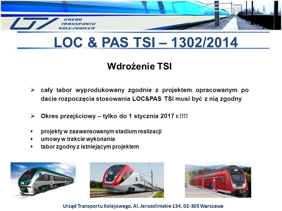 Urząd Transportu Kolejowego, Al. Jerozolimskie 134, 02-305 Warszawa LOC & PAS TSI – 1302/2014 Wdrożenie TSI  cały tabor wyprodukowany zgodnie z proje