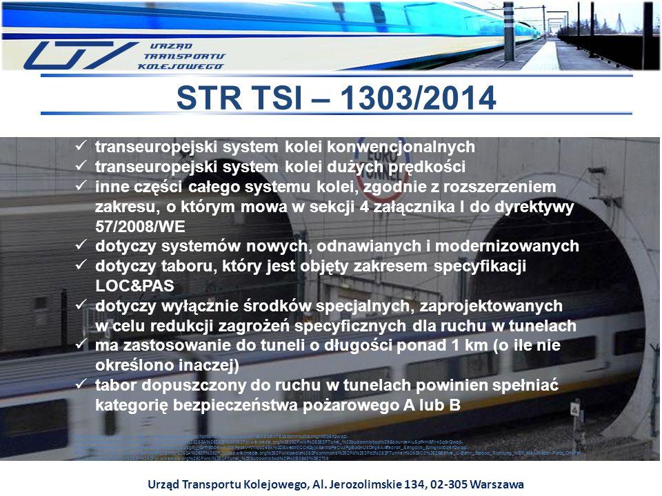 Urząd Transportu Kolejowego, Al. Jerozolimskie 134, 02-305 Warszawa STR TSI – 1303/2014 transeuropejski system kolei konwencjonalnych transeuropejski