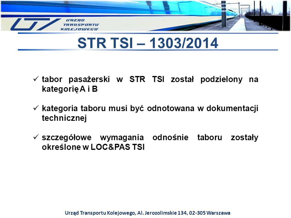 Urząd Transportu Kolejowego, Al. Jerozolimskie 134, 02-305 Warszawa STR TSI – 1303/2014 tabor pasażerski w STR TSI został podzielony na kategorię A i
