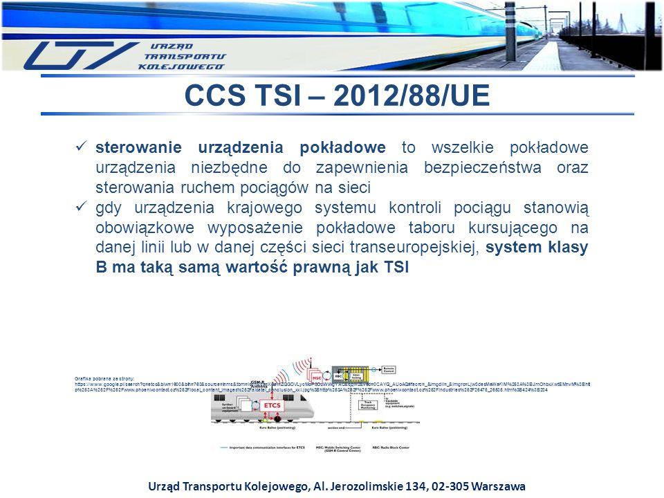 Urząd Transportu Kolejowego, Al. Jerozolimskie 134, 02-305 Warszawa CCS TSI – 2012/88/UE sterowanie urządzenia pokładowe to wszelkie pokładowe urządze