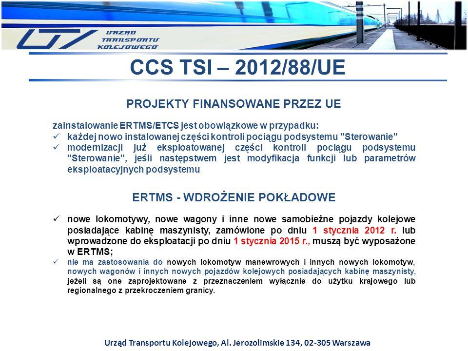 Urząd Transportu Kolejowego, Al. Jerozolimskie 134, 02-305 Warszawa CCS TSI – 2012/88/UE PROJEKTY FINANSOWANE PRZEZ UE zainstalowanie ERTMS/ETCS jest