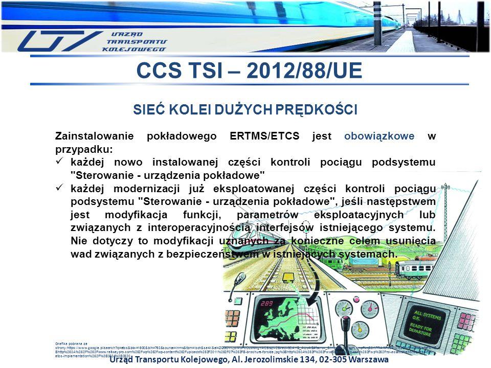 Urząd Transportu Kolejowego, Al. Jerozolimskie 134, 02-305 Warszawa CCS TSI – 2012/88/UE SIEĆ KOLEI DUŻYCH PRĘDKOŚCI Zainstalowanie pokładowego ERTMS/