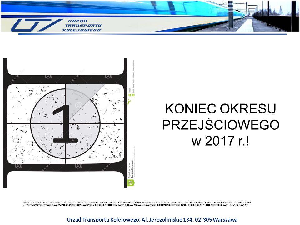 Urząd Transportu Kolejowego, Al. Jerozolimskie 134, 02-305 Warszawa KONIEC OKRESU PRZEJŚCIOWEGO w 2017 r.! Grafika pochodzi ze strony: https://www.goo
