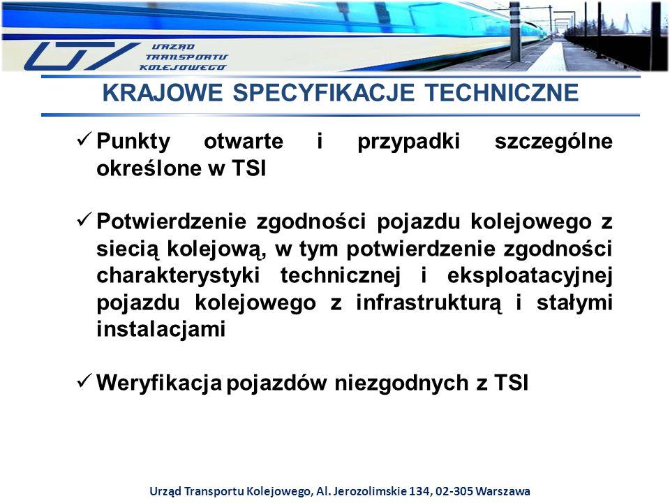 Urząd Transportu Kolejowego, Al. Jerozolimskie 134, 02-305 Warszawa KRAJOWE SPECYFIKACJE TECHNICZNE Punkty otwarte i przypadki szczególne określone w