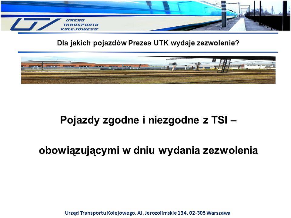 Urząd Transportu Kolejowego, Al. Jerozolimskie 134, 02-305 Warszawa Pojazdy zgodne i niezgodne z TSI – obowiązującymi w dniu wydania zezwolenia Dla ja