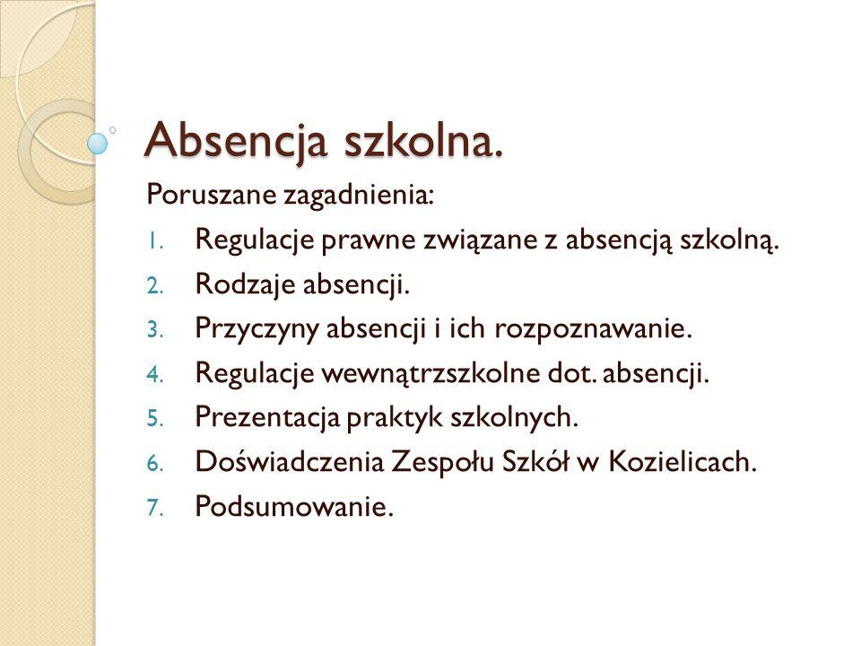 Absencja szkolna. Poruszane zagadnienia: 1. Regulacje prawne związane z absencją szkolną. 2. Rodzaje absencji. 3. Przyczyny absencji i ich rozpoznawan