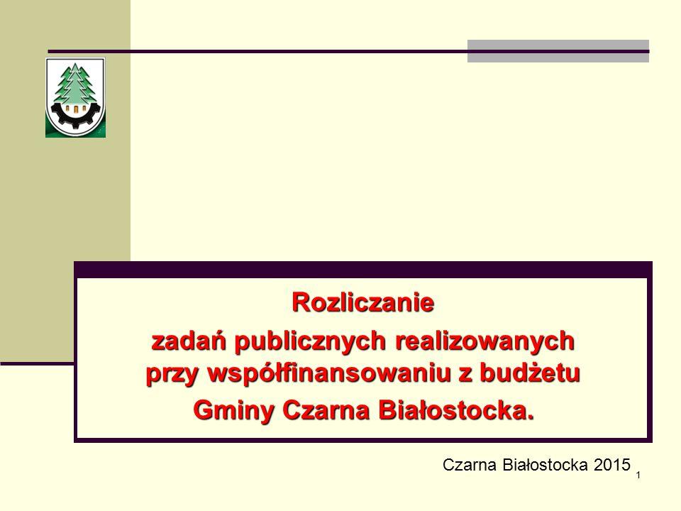 1 Rozliczanie zadań publicznych realizowanych przy współfinansowaniu z budżetu Gminy Czarna Białostocka. Czarna Białostocka 2015