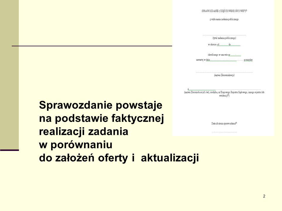 2 Sprawozdanie powstaje na podstawie faktycznej realizacji zadania w porównaniu do założeń oferty i aktualizacji