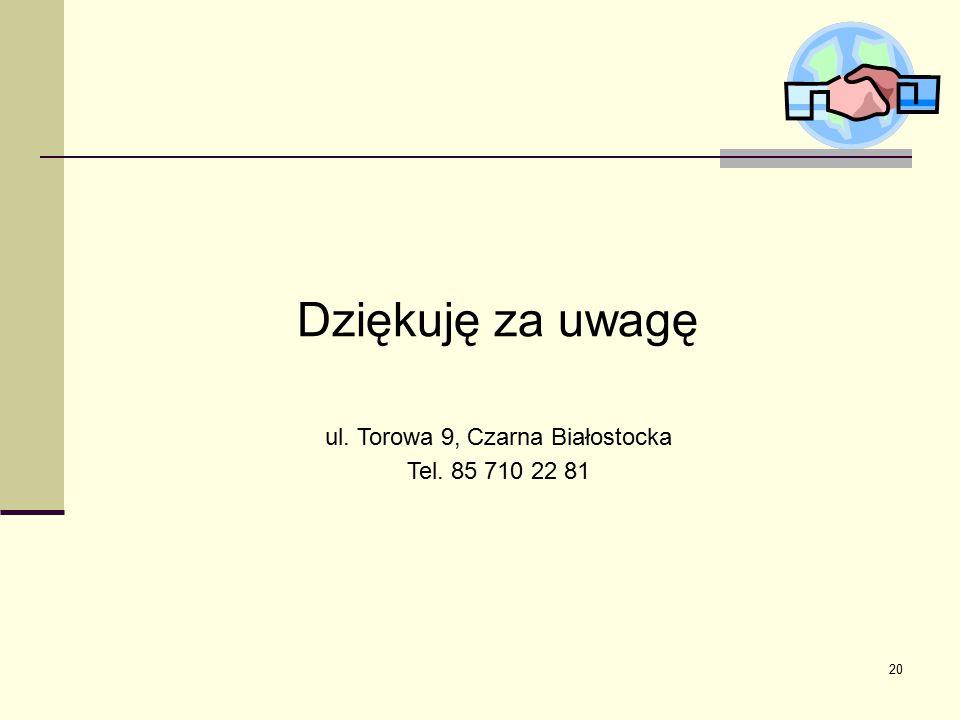 20 Dziękuję za uwagę ul. Torowa 9, Czarna Białostocka Tel. 85 710 22 81