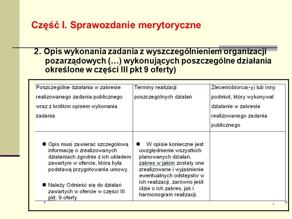 7 Część I. Sprawozdanie merytoryczne 2. Opis wykonania zadania z wyszczególnieniem organizacji pozarządowych (…) wykonujących poszczególne działania o