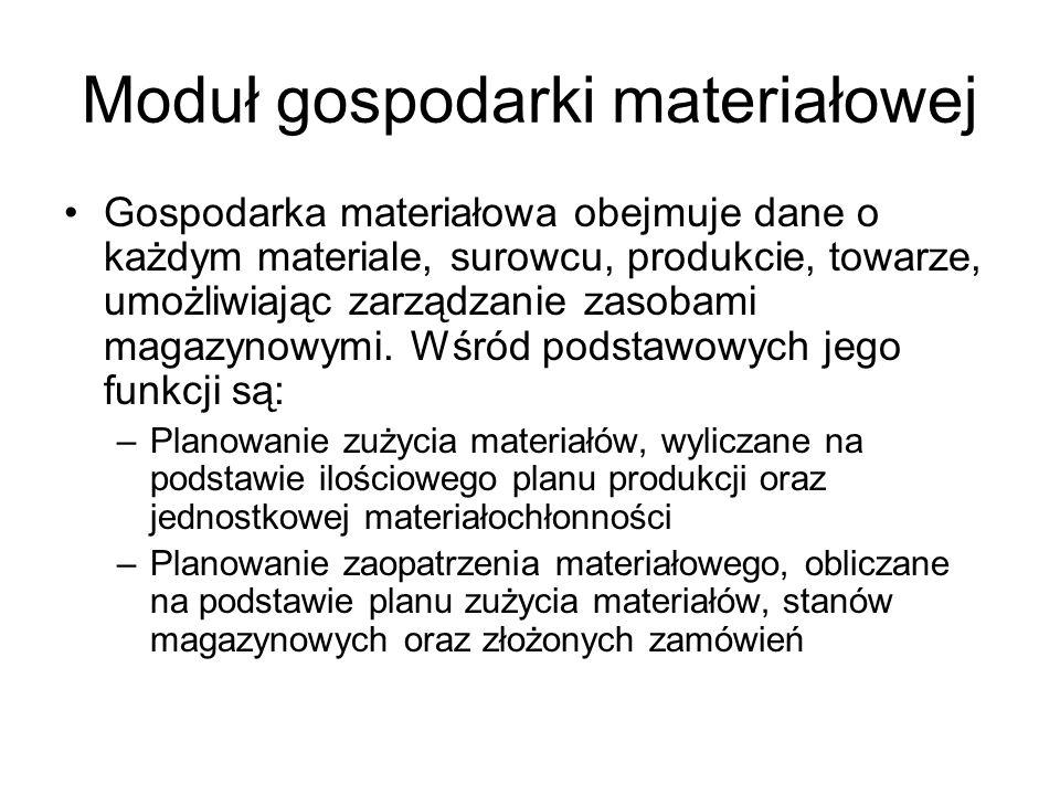 Moduł gospodarki materiałowej Gospodarka materiałowa obejmuje dane o każdym materiale, surowcu, produkcie, towarze, umożliwiając zarządzanie zasobami