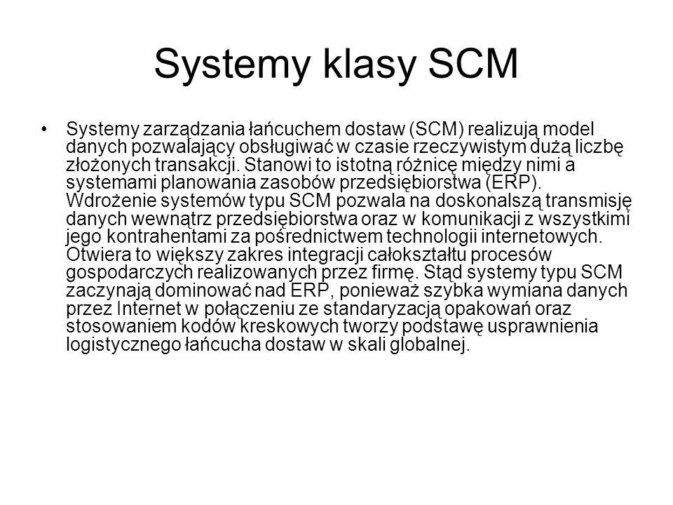Systemy klasy SCM Systemy zarządzania łańcuchem dostaw (SCM) realizują model danych pozwalający obsługiwać w czasie rzeczywistym dużą liczbę złożonych