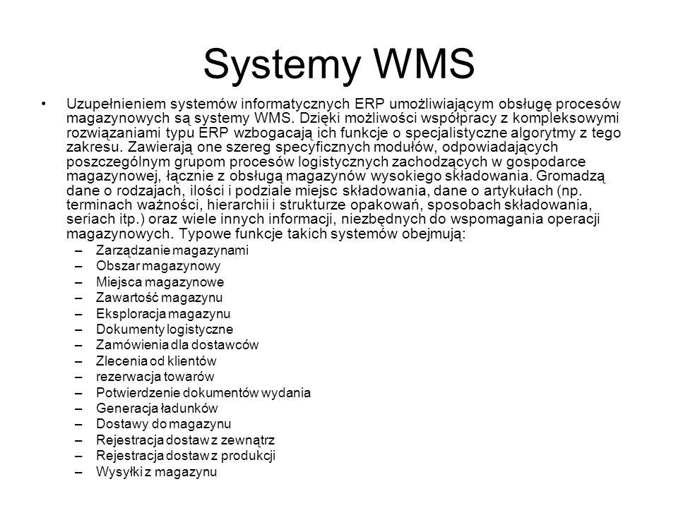 Systemy WMS Uzupełnieniem systemów informatycznych ERP umożliwiającym obsługę procesów magazynowych są systemy WMS. Dzięki możliwości współpracy z kom