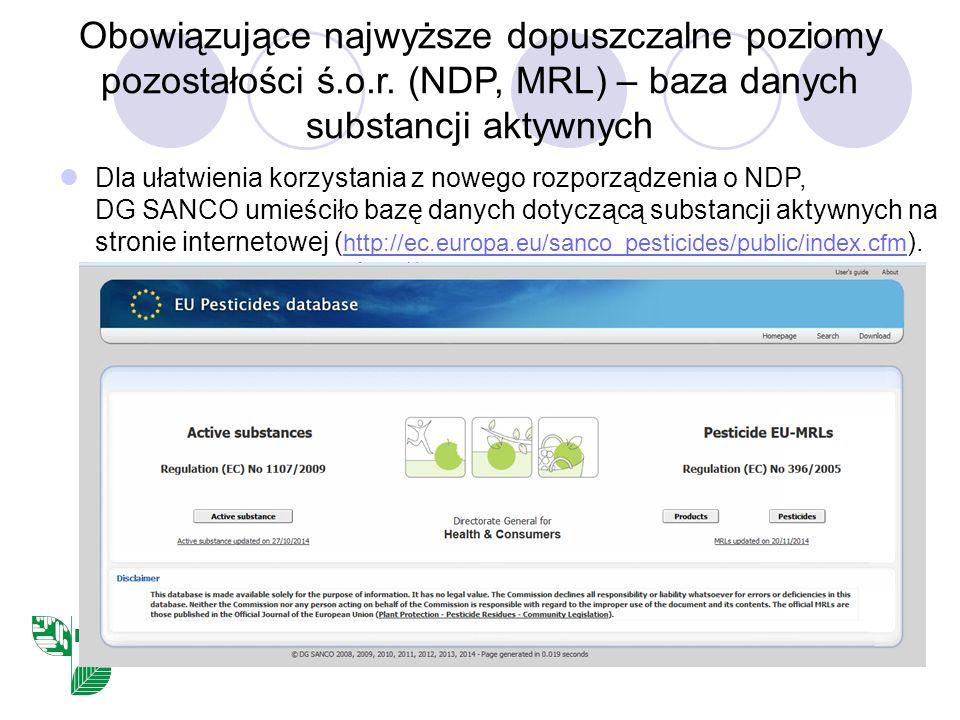 Obowiązujące najwyższe dopuszczalne poziomy pozostałości ś.o.r. (NDP, MRL) – baza danych substancji aktywnych Dla ułatwienia korzystania z nowego rozp