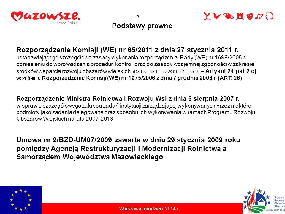 Podstawy prawne Rozporządzenie Komisji (WE) nr 65/2011 z dnia 27 stycznia 2011 r. ustanawiającego szczegółowe zasady wykonania rozporządzenia Rady (WE
