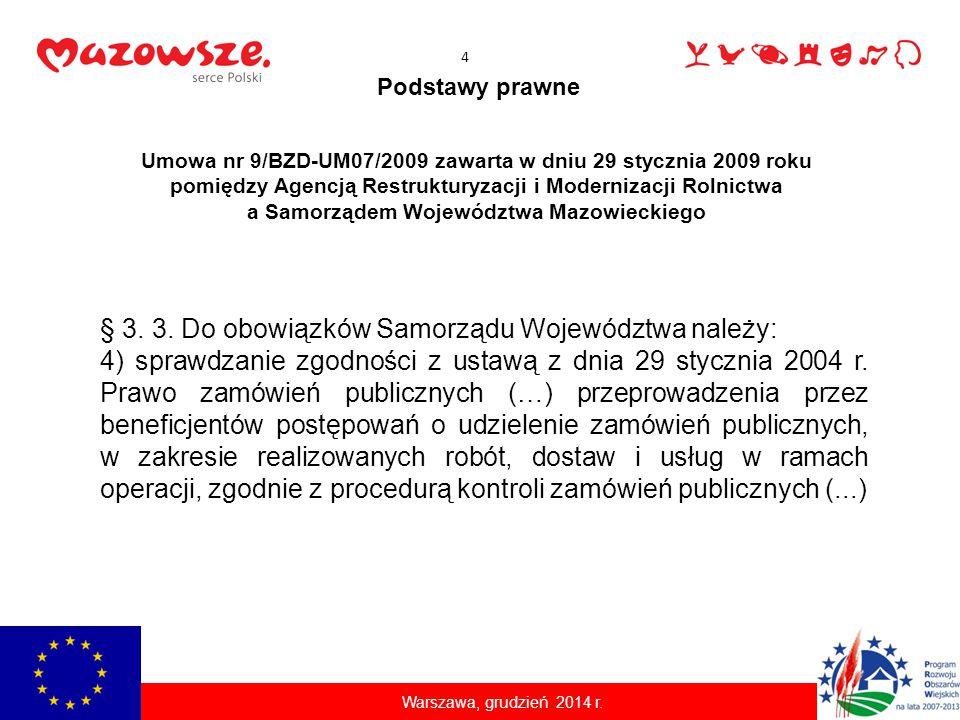 Podstawy prawne Umowa nr 9/BZD-UM07/2009 zawarta w dniu 29 stycznia 2009 roku pomiędzy Agencją Restrukturyzacji i Modernizacji Rolnictwa a Samorządem Województwa Mazowieckiego § 3.