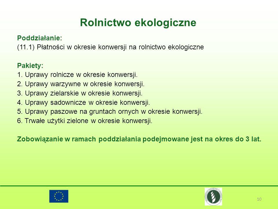 Rolnictwo ekologiczne 10 Poddziałanie: (11.1) Płatności w okresie konwersji na rolnictwo ekologiczne Pakiety: 1. Uprawy rolnicze w okresie konwersji.