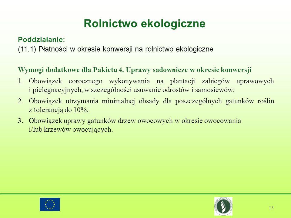 Rolnictwo ekologiczne 13 Poddziałanie: (11.1) Płatności w okresie konwersji na rolnictwo ekologiczne Wymogi dodatkowe dla Pakietu 4. Uprawy sadownicze
