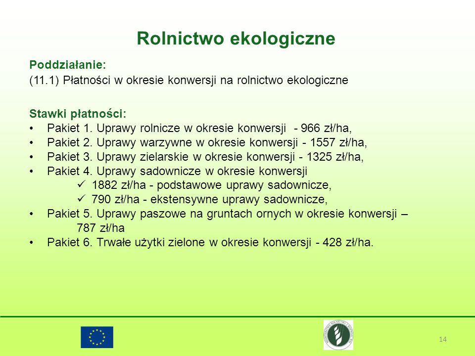 Rolnictwo ekologiczne 14 Poddziałanie: (11.1) Płatności w okresie konwersji na rolnictwo ekologiczne Stawki płatności: Pakiet 1. Uprawy rolnicze w okr