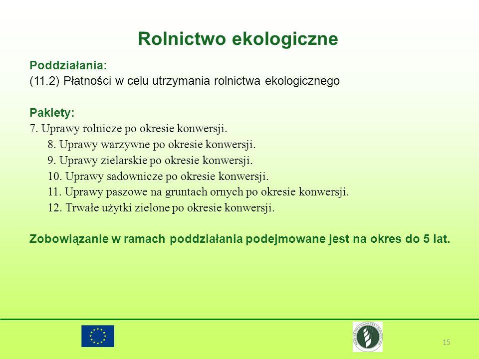 Rolnictwo ekologiczne 15 Poddziałania: (11.2) Płatności w celu utrzymania rolnictwa ekologicznego Pakiety: 7. Uprawy rolnicze po okresie konwersji. 8.