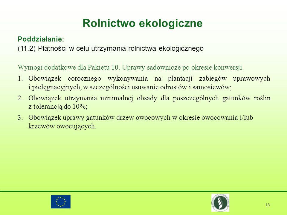 Rolnictwo ekologiczne 18 Poddziałanie: (11.2) Płatności w celu utrzymania rolnictwa ekologicznego Wymogi dodatkowe dla Pakietu 10. Uprawy sadownicze p