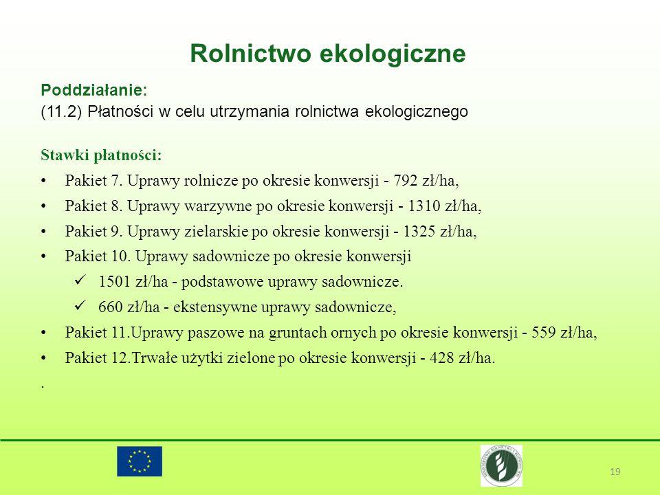 Rolnictwo ekologiczne 19 Poddziałanie: (11.2) Płatności w celu utrzymania rolnictwa ekologicznego Stawki płatności: Pakiet 7. Uprawy rolnicze po okres