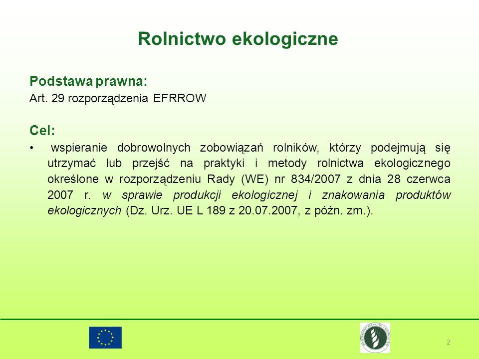 Rolnictwo ekologiczne 2 Podstawa prawna: Art. 29 rozporządzenia EFRROW Cel: wspieranie dobrowolnych zobowiązań rolników, którzy podejmują się utrzymać