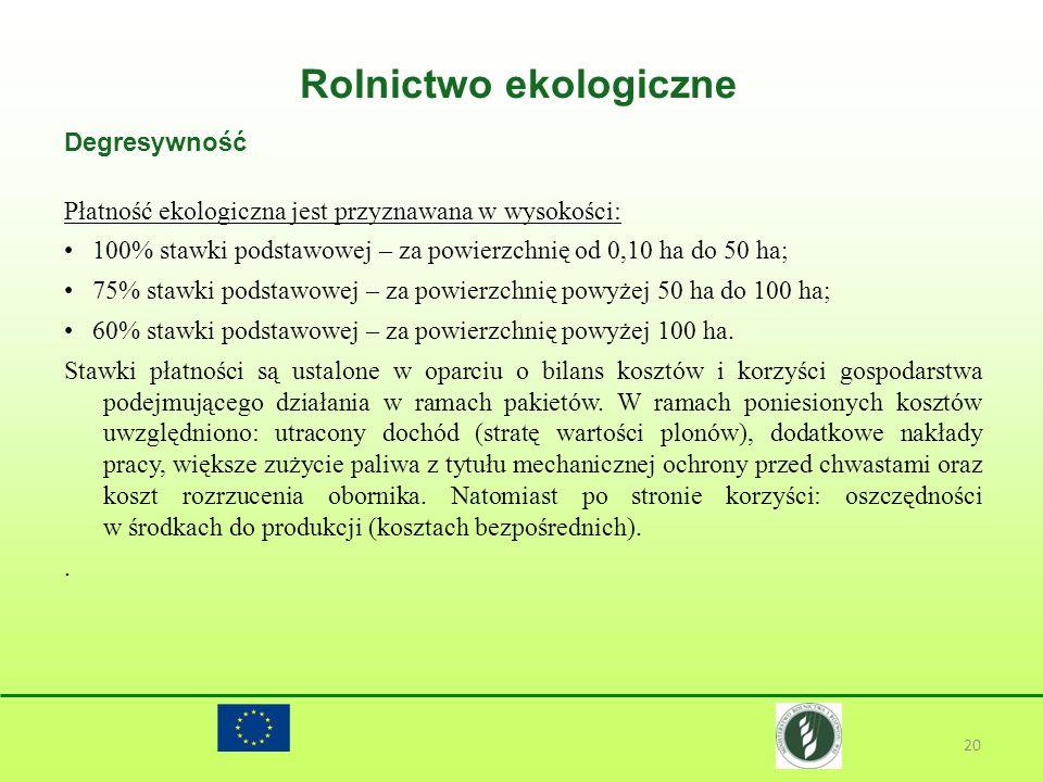 Rolnictwo ekologiczne 20 Degresywność Płatność ekologiczna jest przyznawana w wysokości: 100% stawki podstawowej – za powierzchnię od 0,10 ha do 50 ha