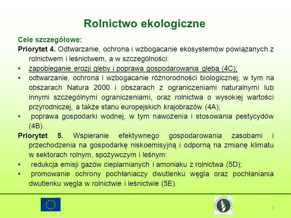 Rolnictwo ekologiczne 5 Cele szczegółowe: Priorytet 4. Odtwarzanie, ochrona i wzbogacanie ekosystemów powiązanych z rolnictwem i leśnictwem, a w szcze