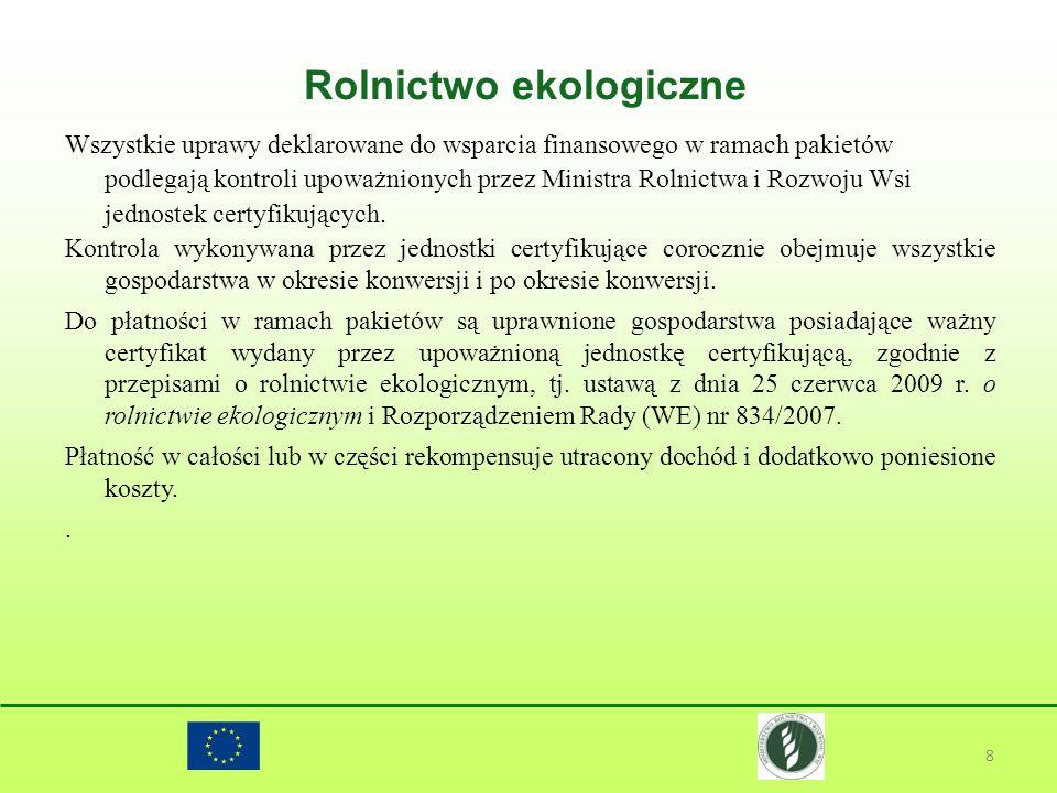 Rolnictwo ekologiczne 8 Wszystkie uprawy deklarowane do wsparcia finansowego w ramach pakietów podlegają kontroli upoważnionych przez Ministra Rolnict