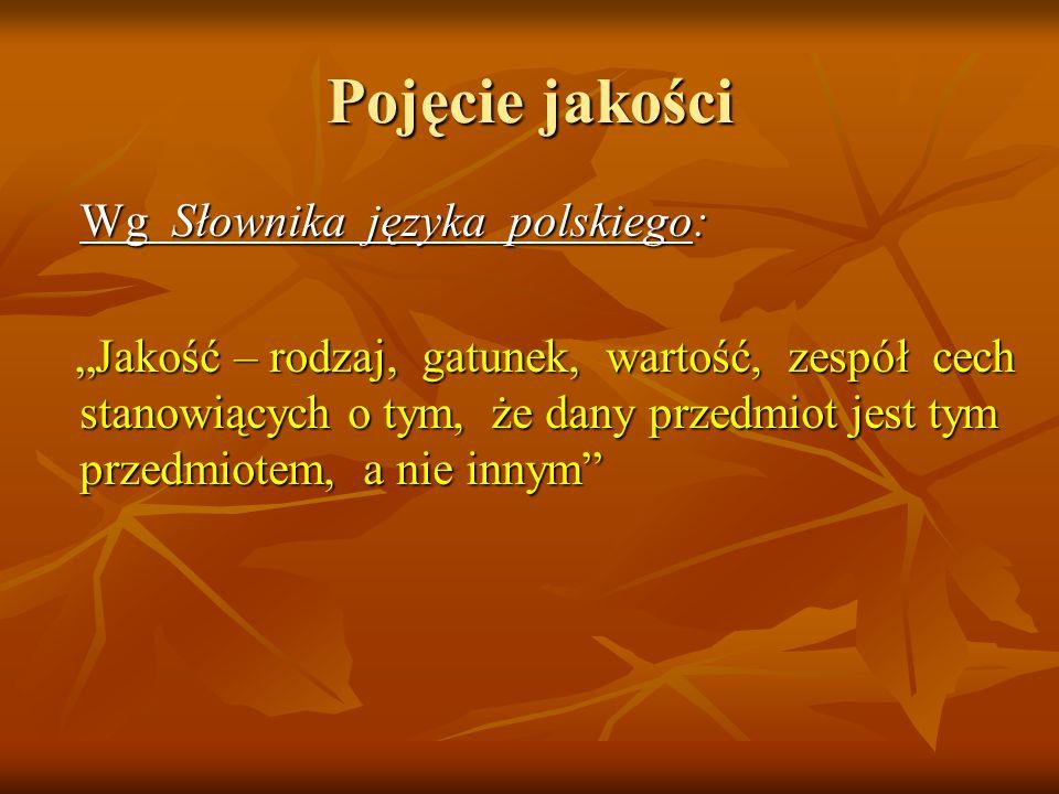 """Pojęcie jakości Wg Słownika języka polskiego: """"Jakość – rodzaj, gatunek, wartość, zespół cech stanowiących o tym, że dany przedmiot jest tym przedmiot"""