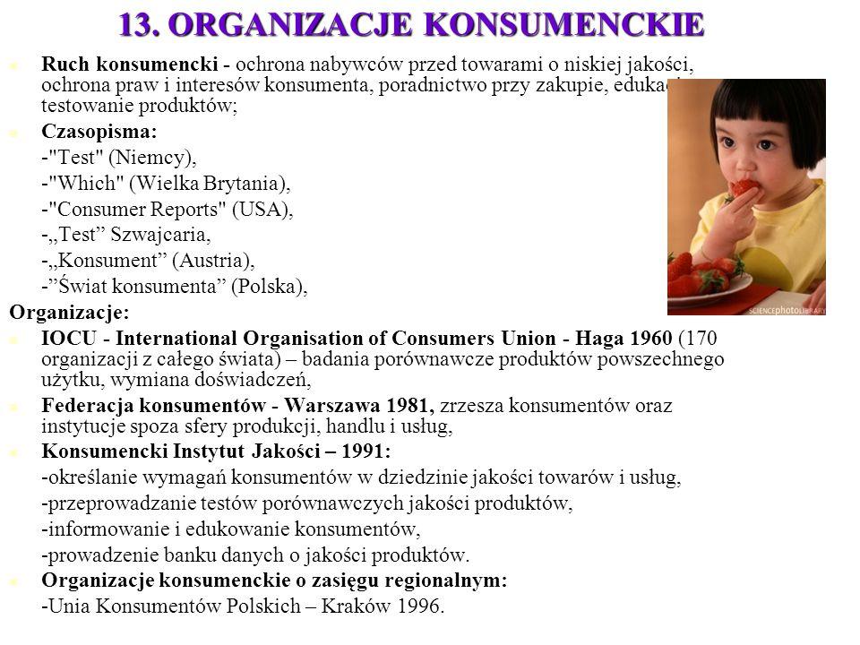 13. ORGANIZACJE KONSUMENCKIE Ruch konsumencki - ochrona nabywców przed towarami o niskiej jakości, ochrona praw i interesów konsumenta, poradnictwo pr