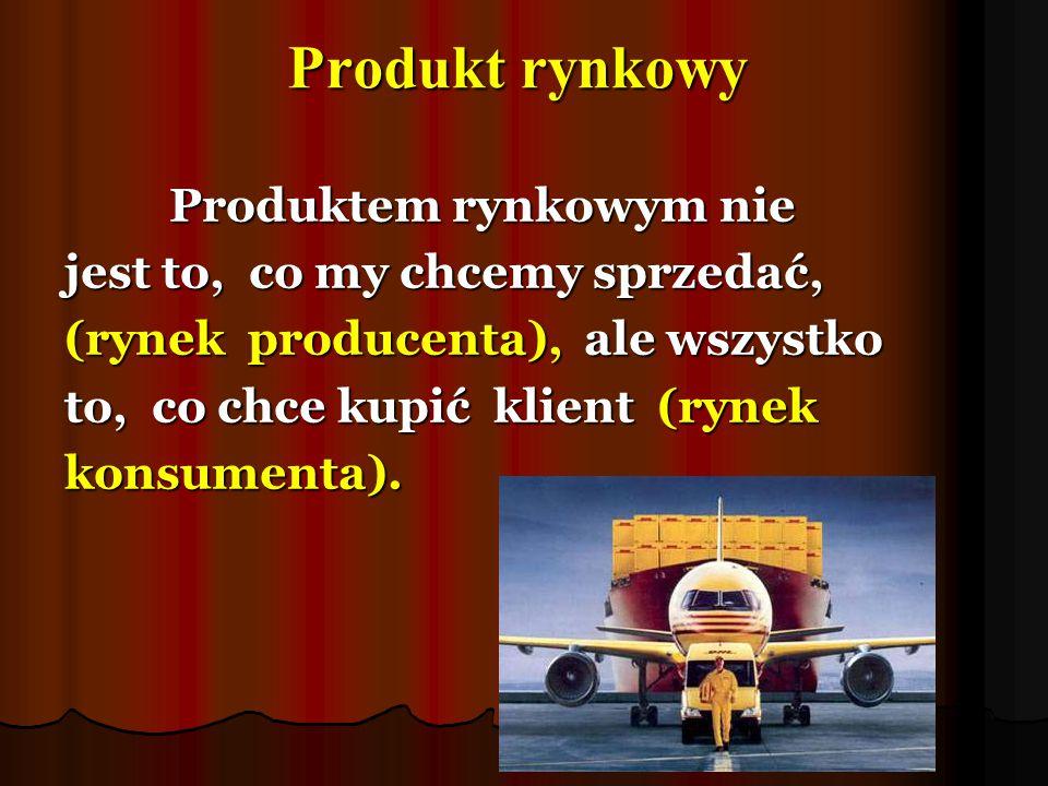 Produkt rynkowy Produktem rynkowym nie jest to, co my chcemy sprzedać, (rynek producenta), ale wszystko to, co chce kupić klient (rynek konsumenta).