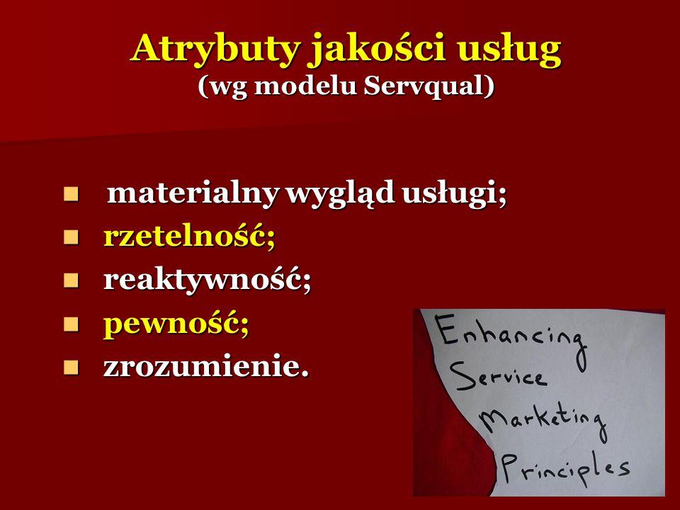Atrybuty jakości usług (wg modelu Servqual) materialny wygląd usługi; materialny wygląd usługi; rzetelność; rzetelność; reaktywność; reaktywność; pewn