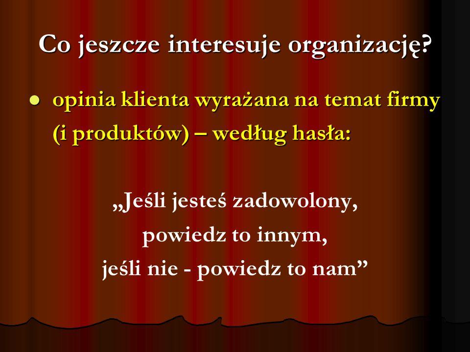 Co jeszcze interesuje organizację? opinia klienta wyrażana na temat firmy opinia klienta wyrażana na temat firmy (i produktów) – według hasła: (i prod