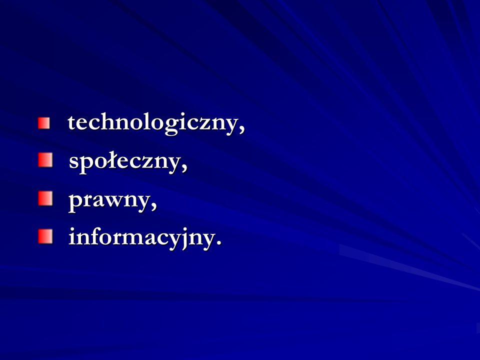 technologiczny, technologiczny, społeczny, społeczny, prawny, prawny, informacyjny. informacyjny.